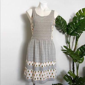 Maison Jules pineapple print gray summer dress
